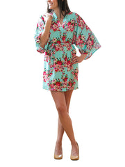 Light Blue Cotton Floral Robe
