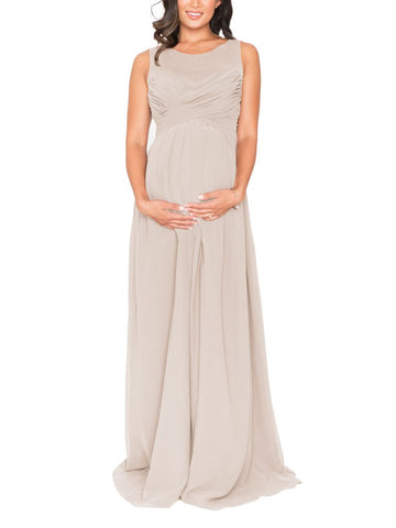Brideside Lisa Maternity Bridesmaid Dress in Sand - Front