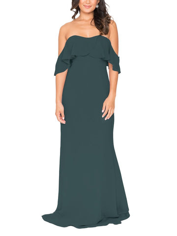 Brideside Lucy Bridesmaid Dress in Hunter - Front