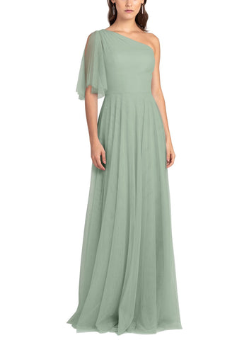 Jenny Yoo Mallory Bridesmaid Dress in Sea Glass - Front