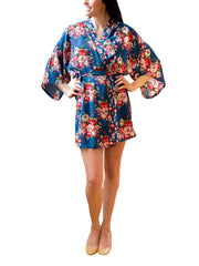 Navy Cotton Floral Robe
