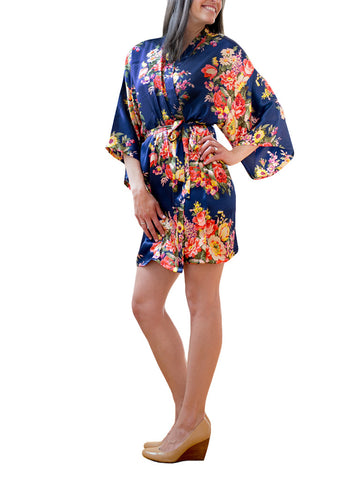 Navy Satin Floral Robe