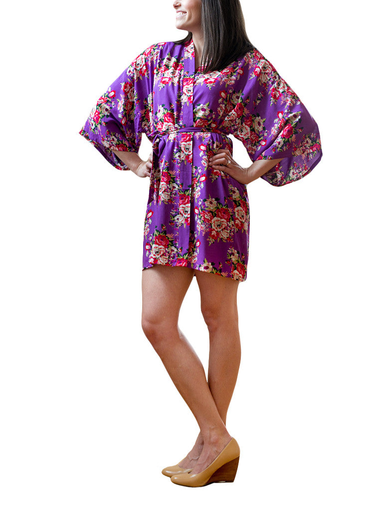 Purple Cotton Floral Robe