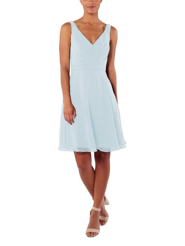 Brideside Rachel Short Bridesmaid Dress in Misty Blue - Front
