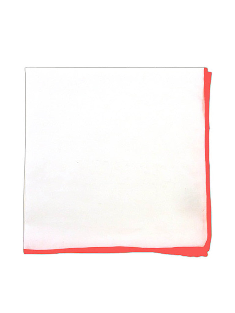 The Tie Bar White Pocket Square with Coral Border