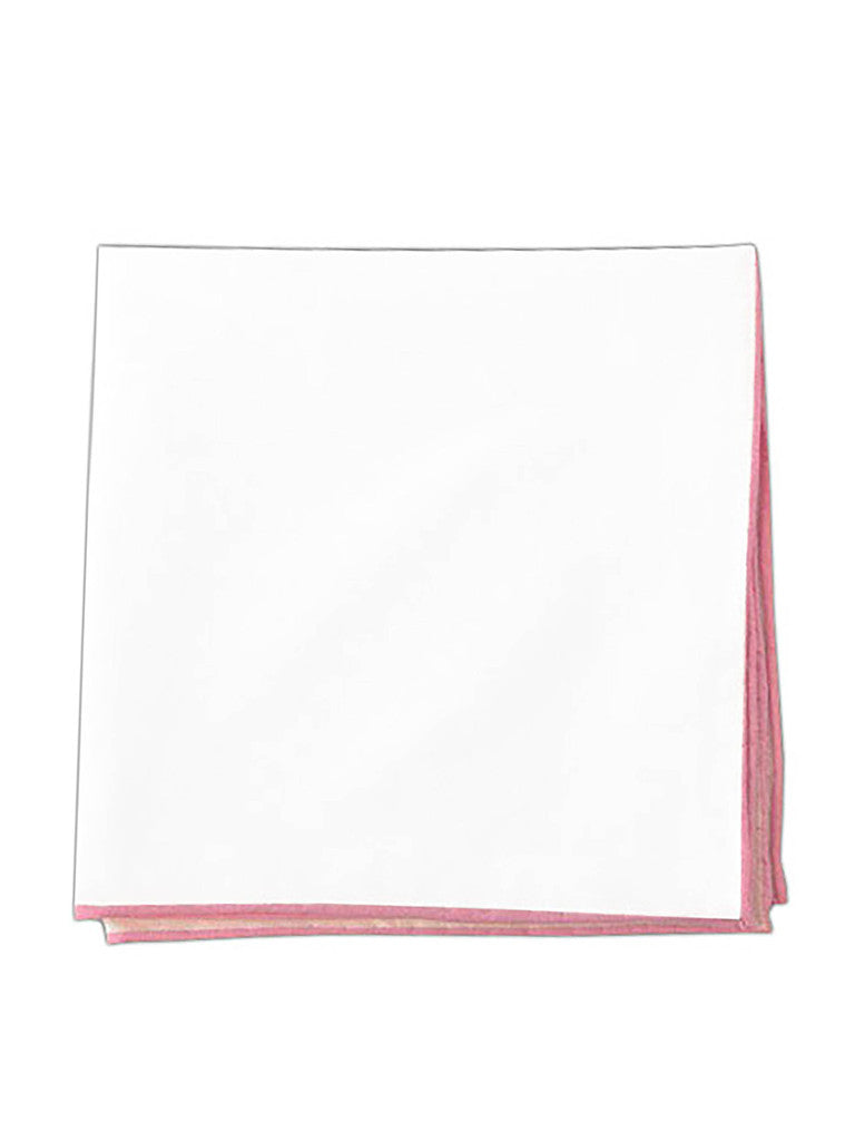 The Tie Bar White Pocket Square with Pink Border
