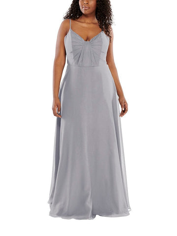 Aura Stella Bridesmaid Dress in Chrome - Front