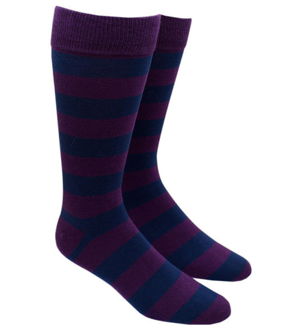 The Tie Bar Super Stripe Socks in Purple