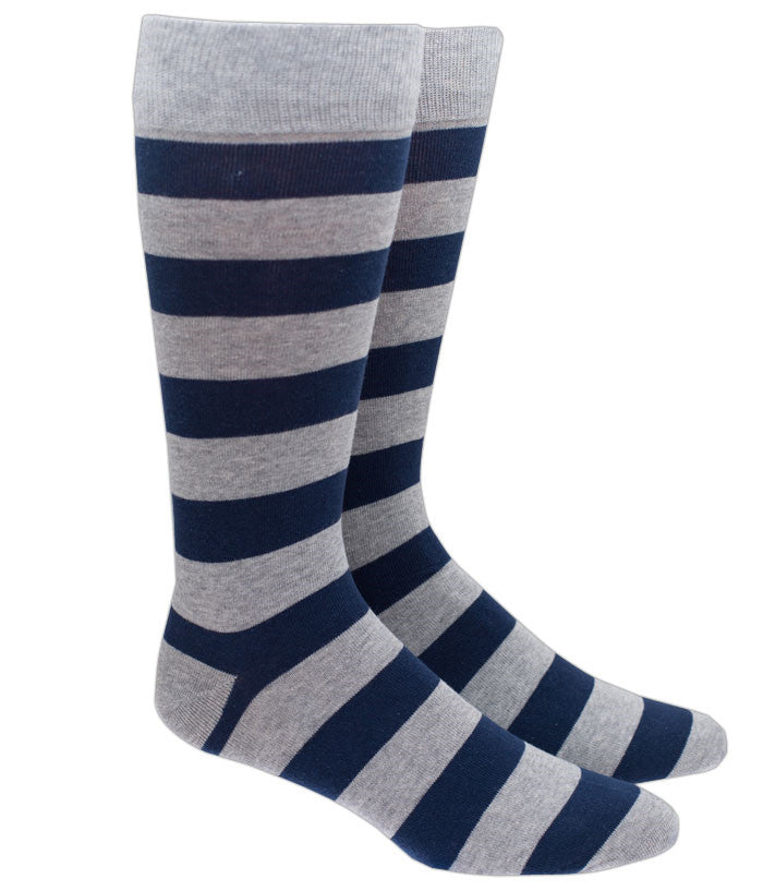 The Tie Bar Super Stripe Socks in Gray
