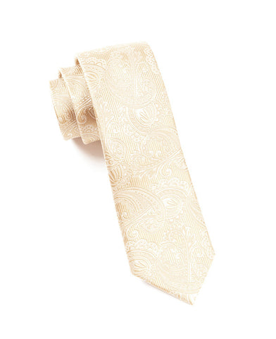 The Tie Bar Cream-Ivory Paisley Necktie
