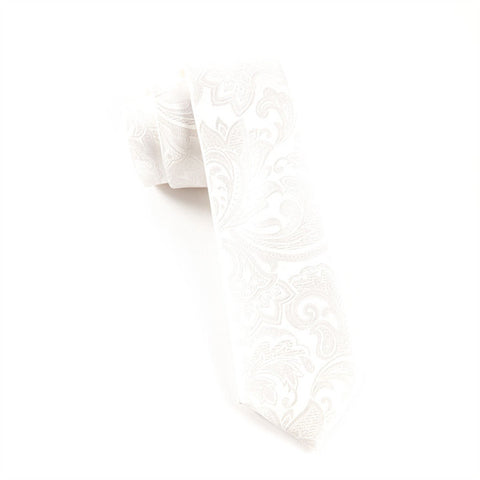 The Tie Bar White Paisley Necktie