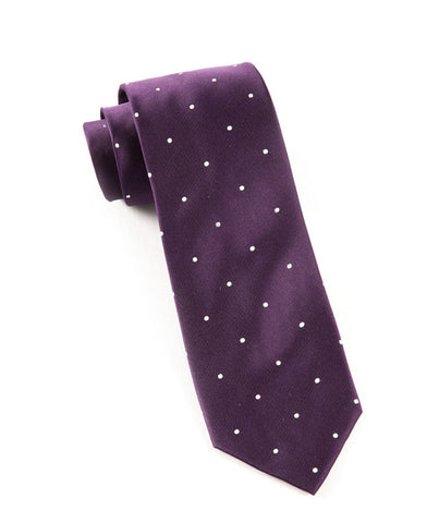 The Tie Bar Eggplant Satin Dot Necktie