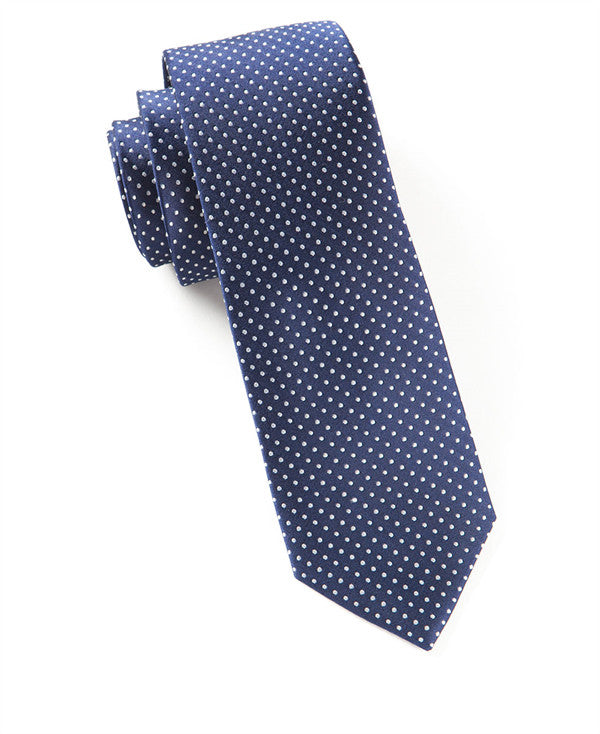 The Tie Bar Navy Blue Pindot Necktie