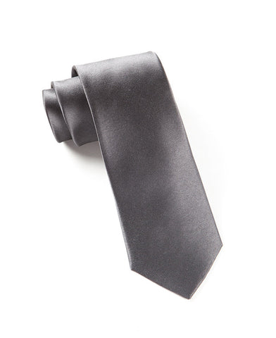 The Tie Bar Solid Charcoal Necktie