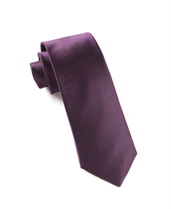 The Tie Bar Solid Eggplant Necktie