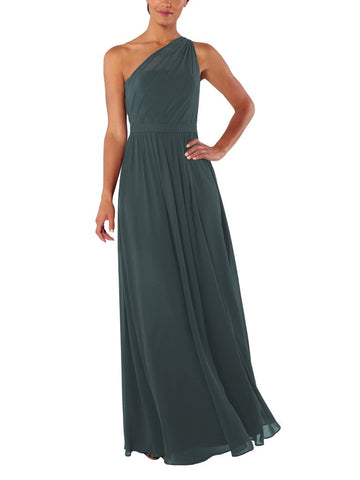 Brideside Tina Bridesmaid Dress in Hunter - Front