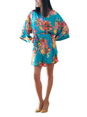Turquoise Satin Floral Robe