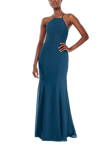 Aura Vega Bridesmaid Dress in Marine Blue - Front