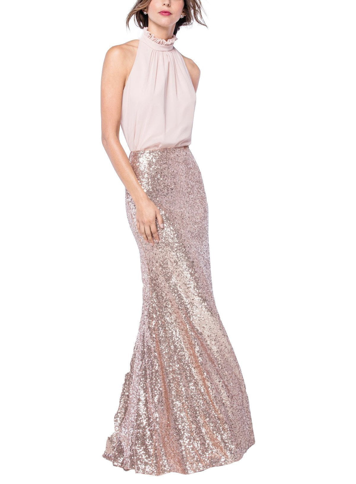 Watters Celine Skirt in Rose Gold Sequin