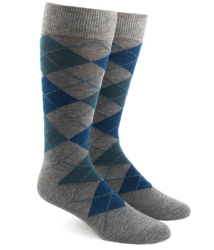 The Tie Bar Teal Argyle Socks