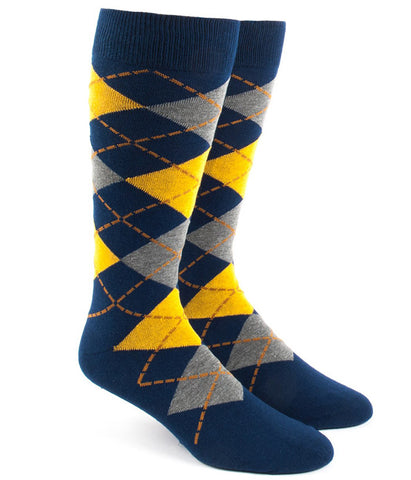 The Tie Bar Yellow Argyle Socks