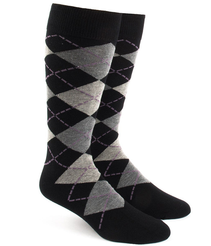The Tie Bar Black Argyle Socks