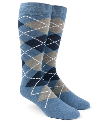 The Tie Bar Blue Argyle Socks