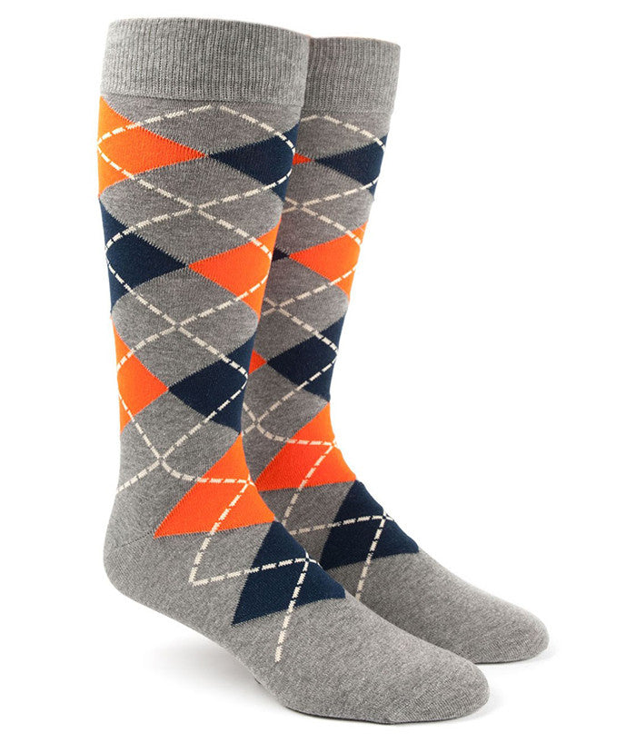 The Tie Bar Tangerine Argyle Socks