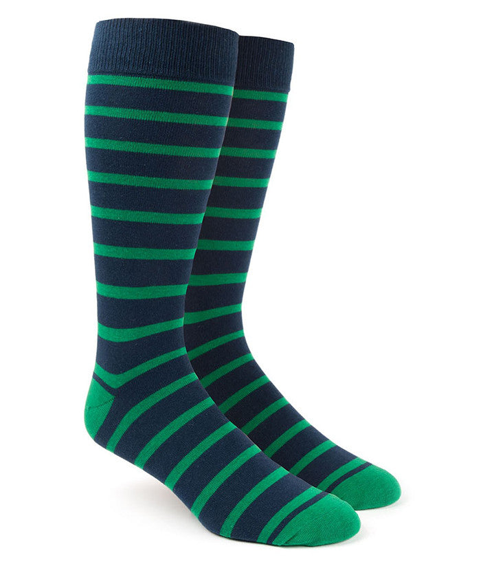 The Tie Bar Kelly Green Trad Stripe Socks