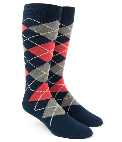 The Tie Bar Melon Argyle Socks