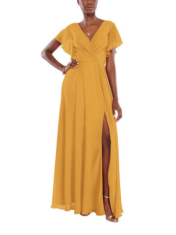 Aura Zoe Bridesmaid Dress in Citrine - Front