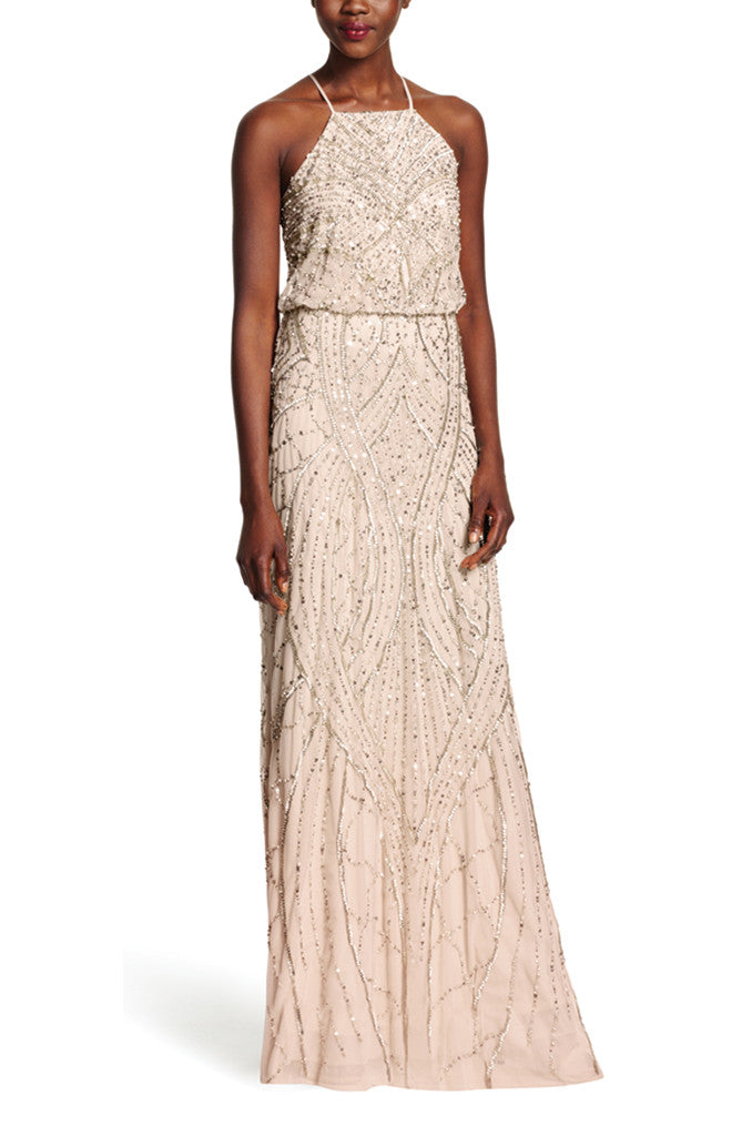 Adrianna Papell Beaded Blouson Halter Gown in Shell - Sample