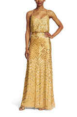 Adrianna Papell Chevron Beaded Blouson Gown in Gold