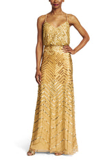 Adrianna Papell Chevron Beaded Blouson Gown in Gold - Sample