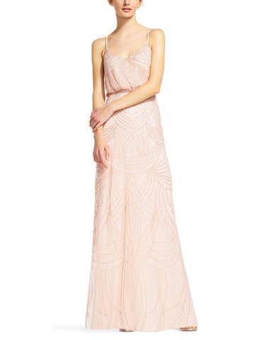 Adrianna Papell Beaded Blouson Gown in Blush
