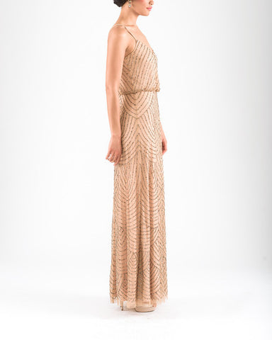 Adrianna Papell Art Deco Beaded Blouson Gown in Taupe Pink - Sample