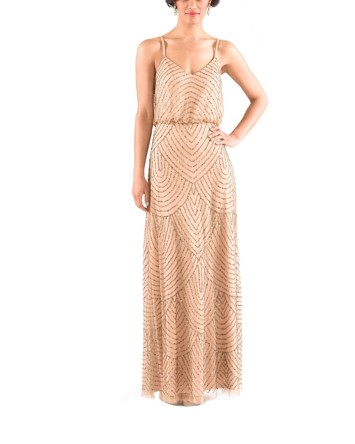 Adrianna Papell Art Deco Blouson Gown in Taupe Pink Bridesmaid Dress ...