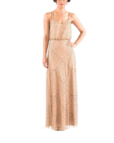 Adrianna Papell Art Deco Beaded Blouson Gown in Taupe Pink