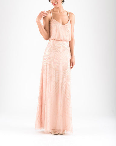 Adrianna Papell Beaded Blouson Gown in Blush - Sample