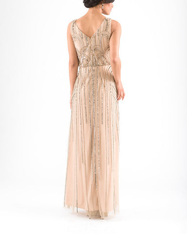 Adrianna Papell Sleeveless Blouson Gown with Art Nouveau Beading - Sample