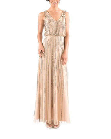 Adrianna Papell Sleeveless Blouson Gown with Art Nouveau Beading in Taupe Pink