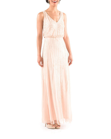 Adrianna Papell Sleeveless Blouson Gown with Art Nouveau Beading in Blush