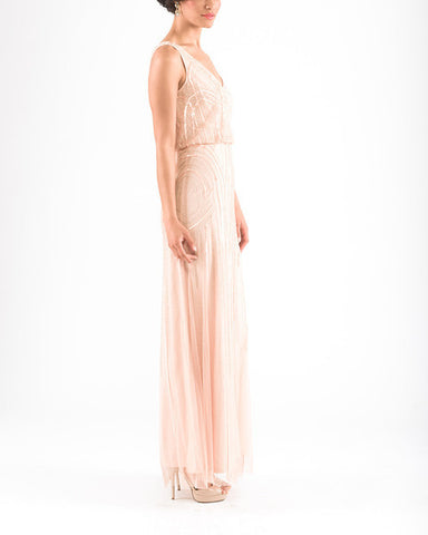 Adrianna Papell Sleeveless Blouson Gown with Art Nouveau Beading in Blush - Sample