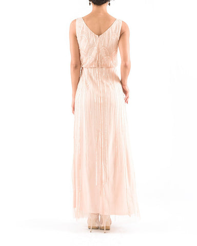 Adrianna Papell Sleeveless Blouson Gown in Blush