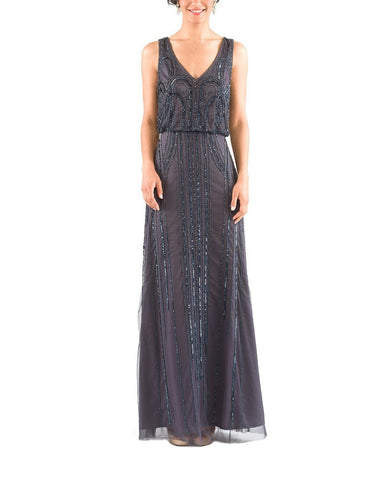 Adrianna Papell Sleeveless Blouson Gown in Gunmetal Beading- Front