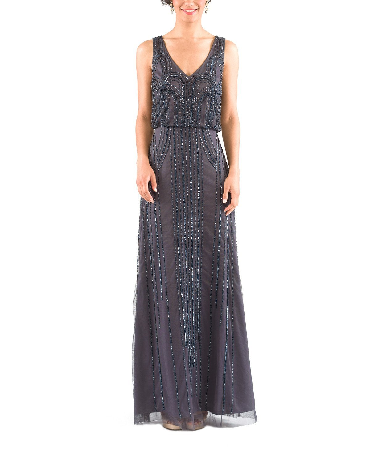 Adrianna Papell Sleeveless Blouson Gown in Gunmetal Bridesmaid Dress ...