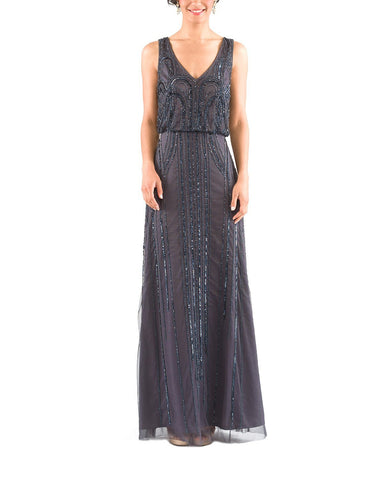 Adrianna Papell Sleeveless Blouson Gown with Art Nouveau Beading in Gunmetal