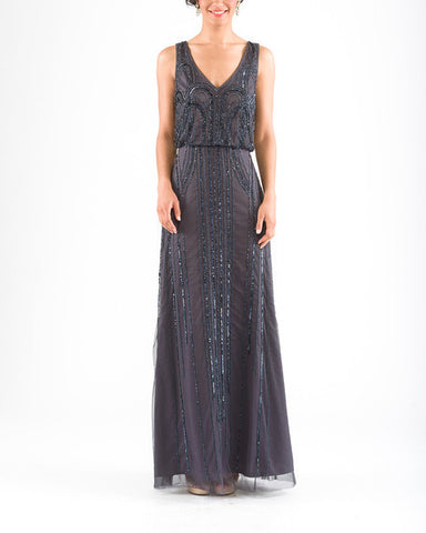 Adrianna Papell Sleeveless Beaded Blouson Gown with Art Nouveau Beading in Gunmetal - Sample