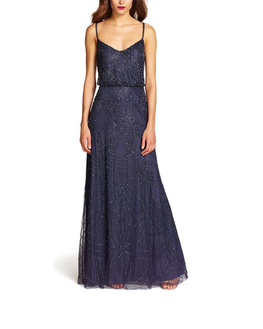 Adrianna Papell Beaded Blouson Gown In Gunmetal