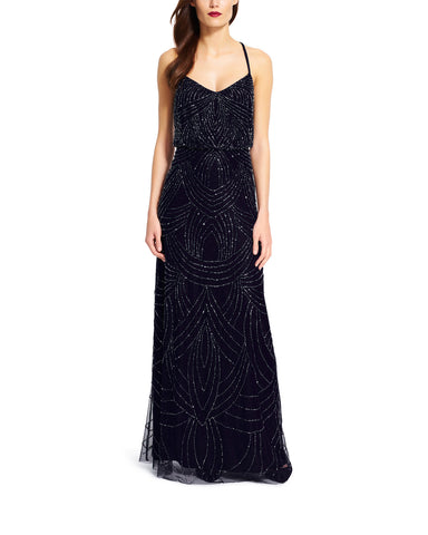 Adrianna Papell Beaded Blouson Gown in Navy - Sample